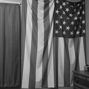 Gray and White American Flag Tapestry